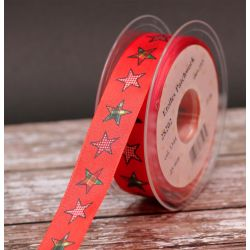 25mm Orange Patchwork Star Ribbon