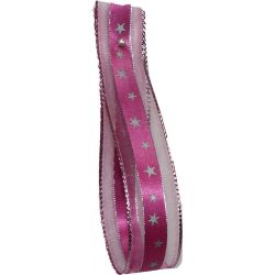 Stars Christmas Ribbon 25mm x 20m - Pink and Silver