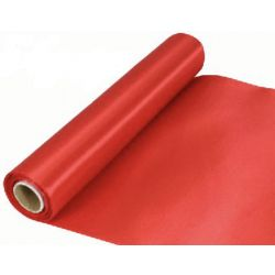 29cm Wide Red Cut Edged Satin Fabric