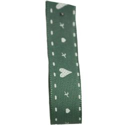 Hearts & Kisses Ribbon 15mm x 20m Green - Special Offer