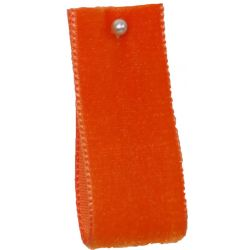Velvet Ribbon By Berisfords Ribbons Col: Orange 9445 - available in 9mm - 50mm widths