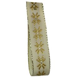 Buttermilk Crystal Festive Ribbon 15mm x 20m