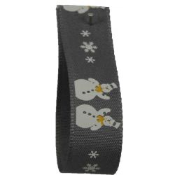 Smoked Grey Snowman Ribbon 15mm x 20m Article 14300