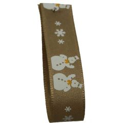 Oatmeal Snowman Ribbon 15mm x 20m Article 14300