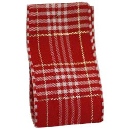 40mm Rustic Plaid Ribbon In Red