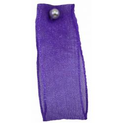 Wired Edged Sheer Ribbon 25mm x 25m Col: Purple