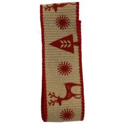 Red Scandic Deer Ribbon 15mm x 4m