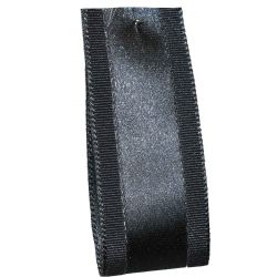 Grace Satin & Grosgrain Mixed Ribbon in Charcoal- Article 1203