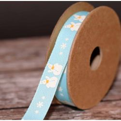 Blue Snowman Ribbon 15mm x 4m