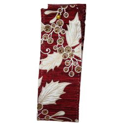 Mistletoe and Holly Burgundy Wired Edge Ribbon Article 644694