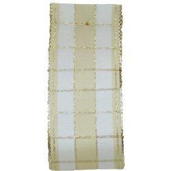 Cream & Gold Wired Edged Christmas Check Taffeta Ribbon x 25m