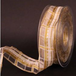 Cream and Gold Plaid Sheer Ribbon 25mm x 25m