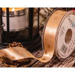 ecru polka flake ribbon in 25mm width