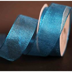 Frozen Blue Wired Metallic Mesh Ribbon 63mm x 10m