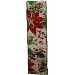 Wired Edged Glitter Poinsettia Christmas Ribbon 50mm x 10yrds