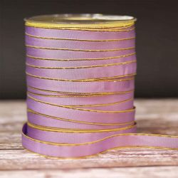 BULK REEL - Lilac Gold Edged Taffeta Ribbon 12mm x 250m