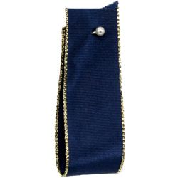Wired Gold Edged Navy Christmas Ribbon 25mm x 25m
