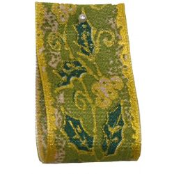 Holly Design In Green & Gold 40mm x 25m