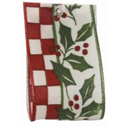 40mm x 25m Holly Check Wired Edge Ribbon - Wine