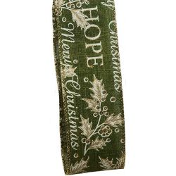 Merry Christmas Ribbon - Green 50mm x 10yrds