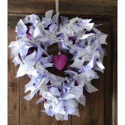 White, Silver & Lilac Heart Shaped Ribbon Wreath - Kit
