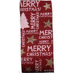 Merry Christmas Ribbon Cranberry Hessian Style 38mm x 20m