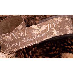 Merry Christmas Ribbon Holly Design- Natural Hessian Look 50mm x 10yrds