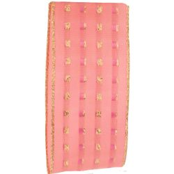 Pink 40mm Gold gimp stitched ribbon