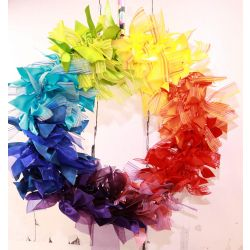 Rainbow Themed Circular Ribbon Wreath - Kit