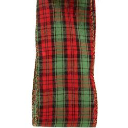 Large Green, Red & Black.Check Tartan Style Ribbon With Gold Wired Edges 63mm x 10yrds