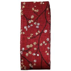 Wired Edged Christmas Glitter Berries Ribbon in Red 38mm x 10yrds
