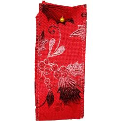 Gilded Mistletoe and Holly Red Wired Edge Ribbon Article 644663