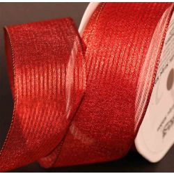 Red Wired Metallic Mesh Ribbon 38mm x 10m