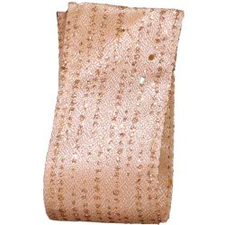 Wired Edged Festive Shimmer Ribbon in Champagne Gold 38mm x 10yds