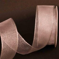 Silver Wired Metallic Mesh Ribbon 38mm x 10m