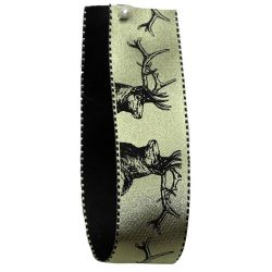 Stag Print Ribbon In Cloudy Green 25mm x 20m