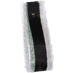 Winter Stripe Sparkling White and Black, 10mm Lame Ribbon. Art 60175