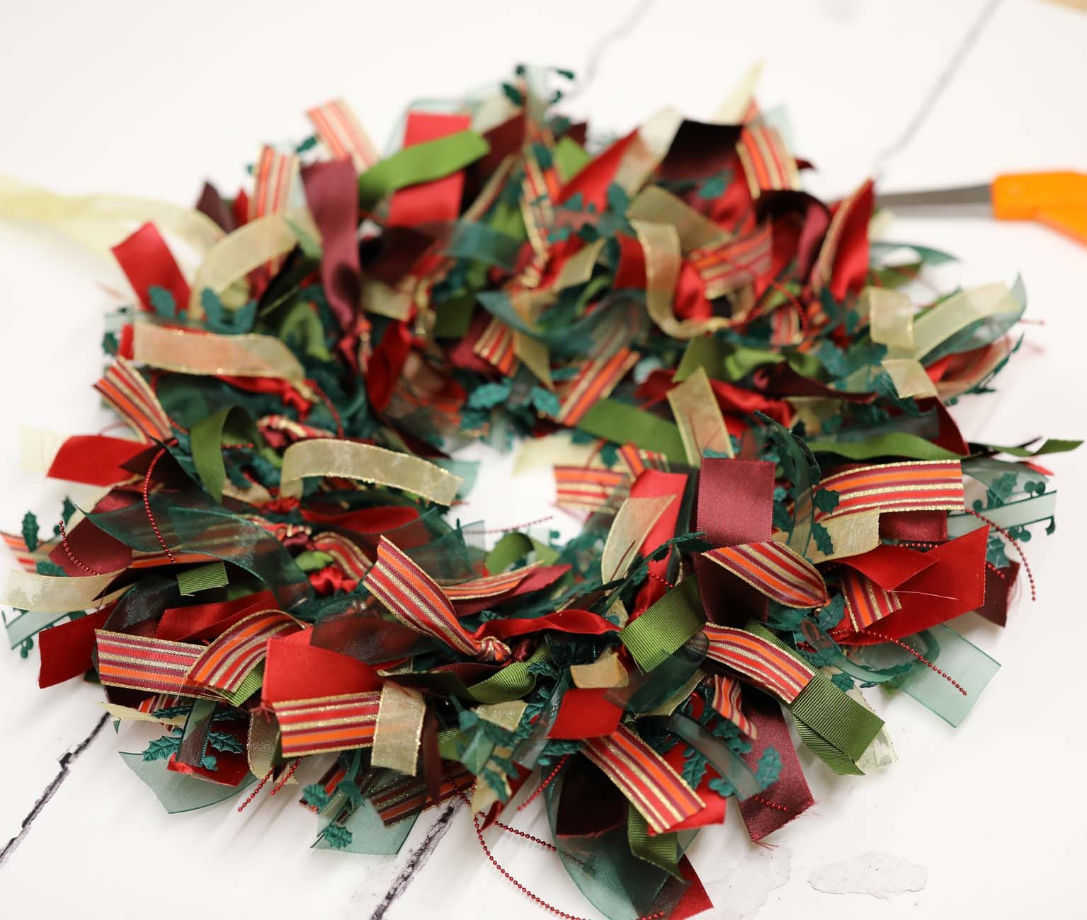 ribbon wreath making
